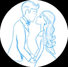 Dessin d'un couple qui échange un baiser lors de la cérémonie de mariage